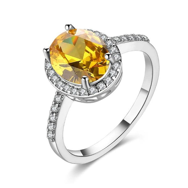 Citrine Pav'e Halo Cut Classic White Gold Ring
