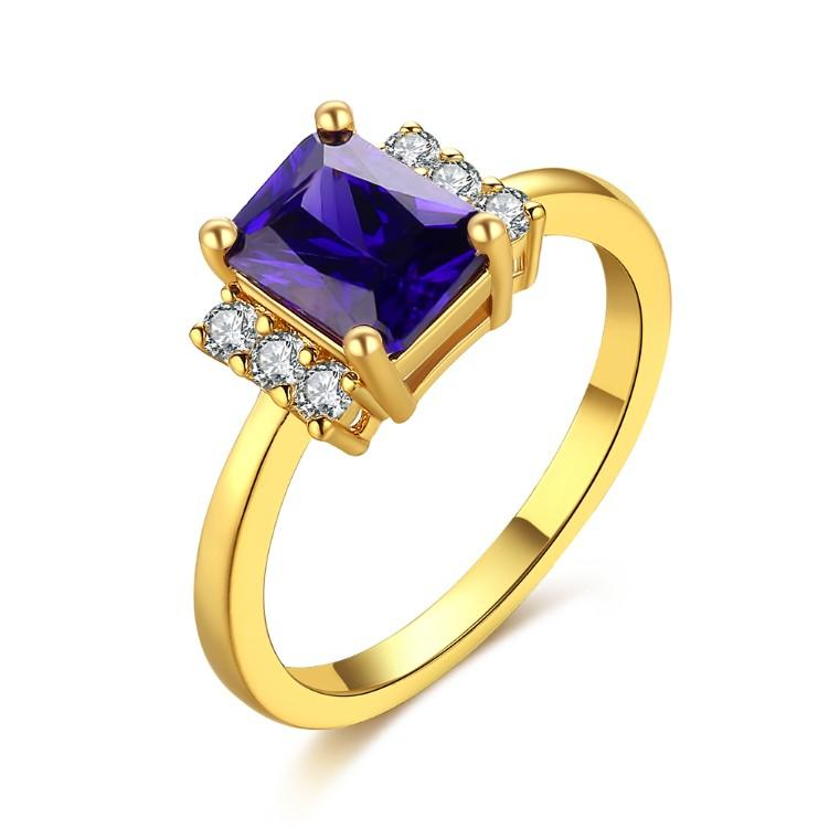 Sapphire Emerald Cut Micro-Pav'e Ring in Gold