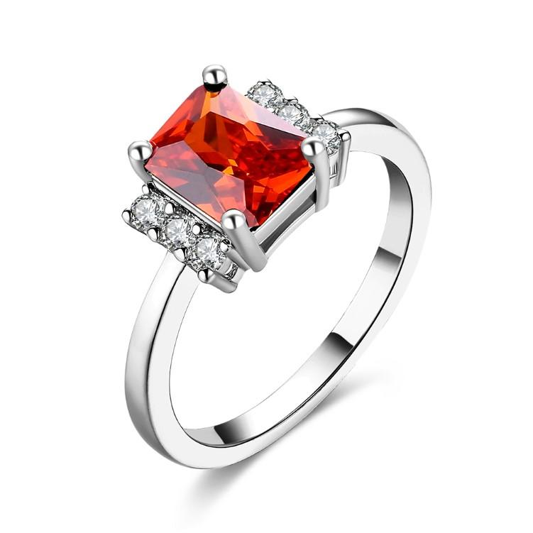 Ruby Emerald Cut Micro-Pav'e Ring in White Gold