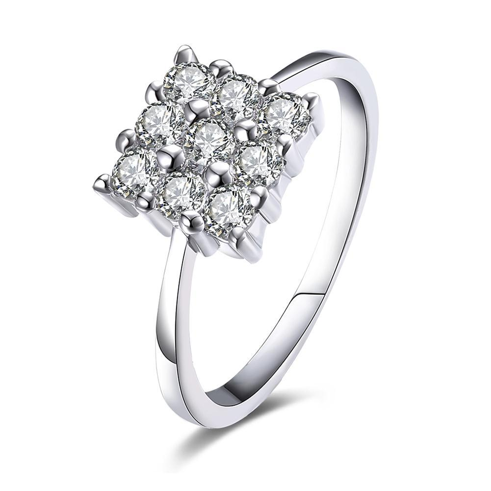 Nine Stone Square Shaped Swarovski Elements Ring in White Gold