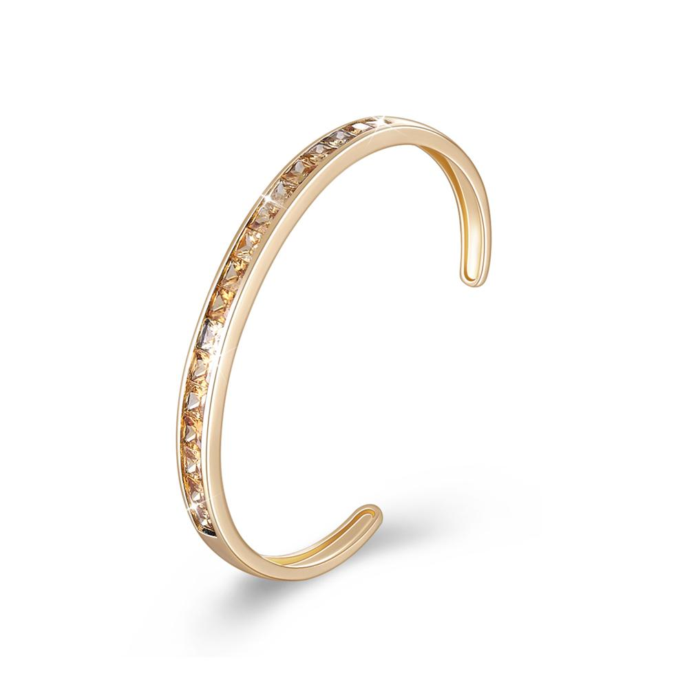 Princess Cut Swarovski Elements Bangle in 14K Gold - Gold