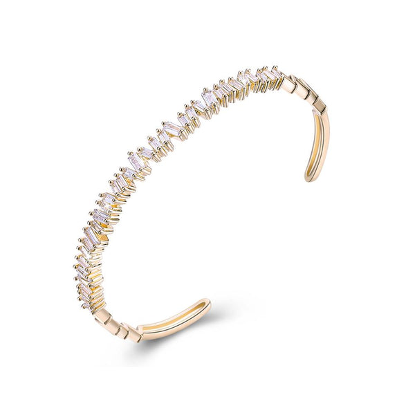 Sleek Emerald Cut Swarovski Open Bangle in 14K Gold - White