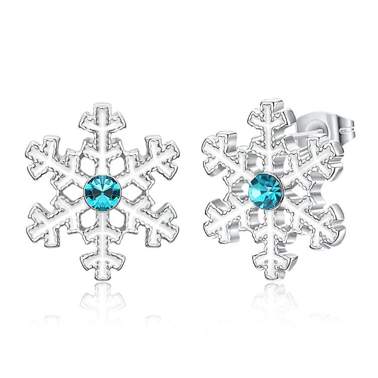 Winter Snowflake Textured Stud Earring