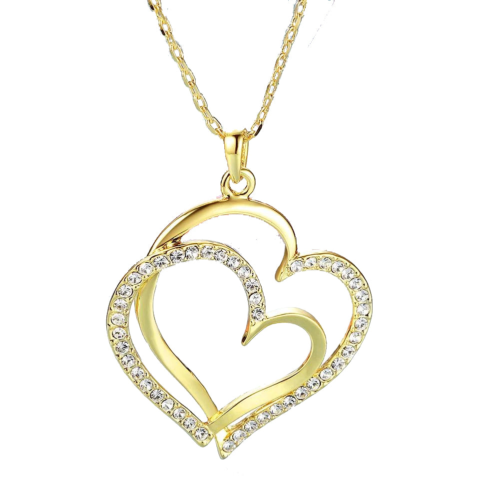 Curved Duo Intertwined Heart Shaped Swarovski Elements Necklace in 14K Gold