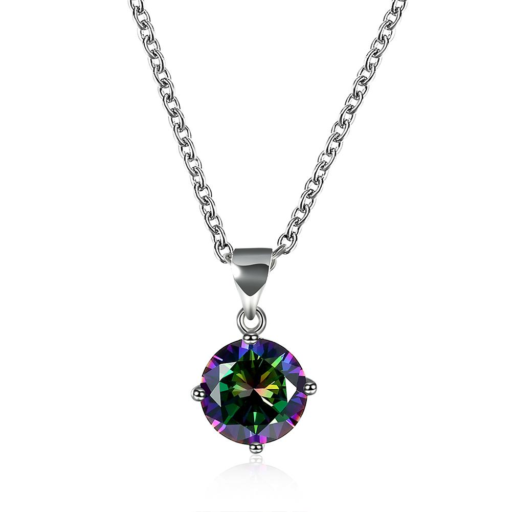 Mystic Topaz Mini Solitaire Necklace Gemstone