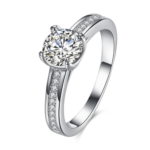 Filigree Solitaire Engagement Ring in 18K White Gold