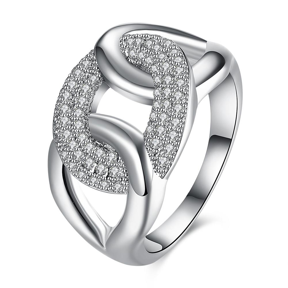 Micro-Pav'e Swarovski Elements Intertwined Braid Cocktail Ring in White Gold