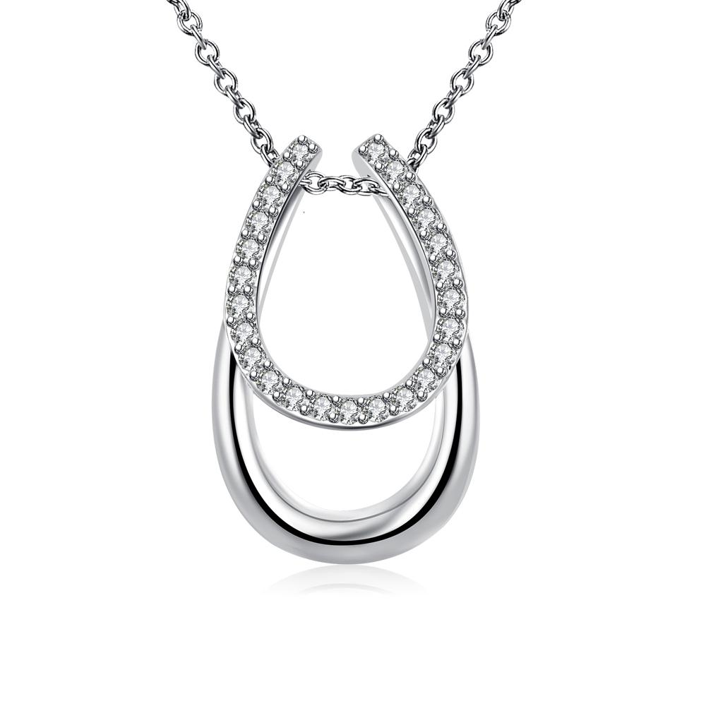 Swarovski Elements Horseshoe Pendant Necklace in 18K White Gold
