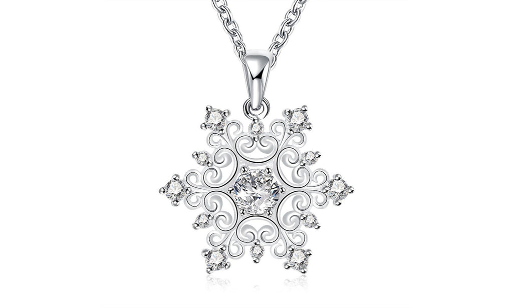 18K White Gold Plated Swarovski Elements Snowflake Necklace