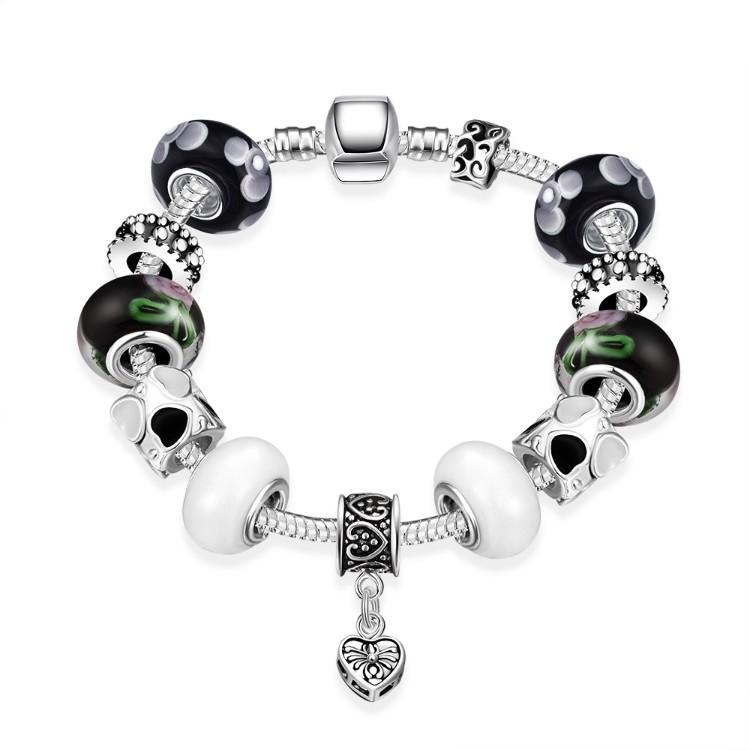 Multi Color Black & White Pandora Inspired Bracelet
