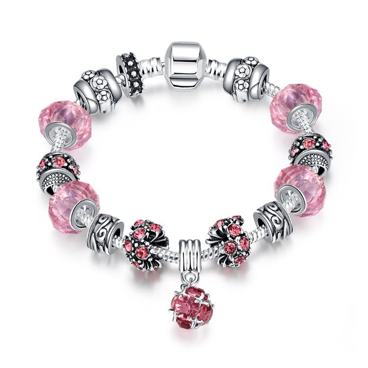50 Shades of Pink Pandora Inspired Bracelet
