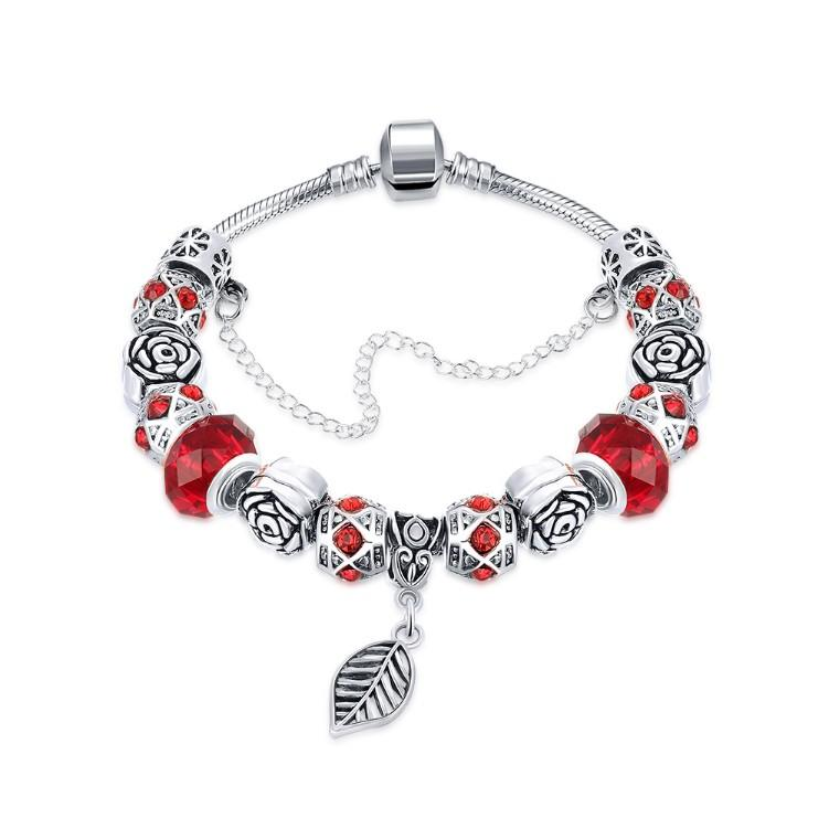 Dark Ruby Red Leaf Branch Pandora Inspired Bracelet