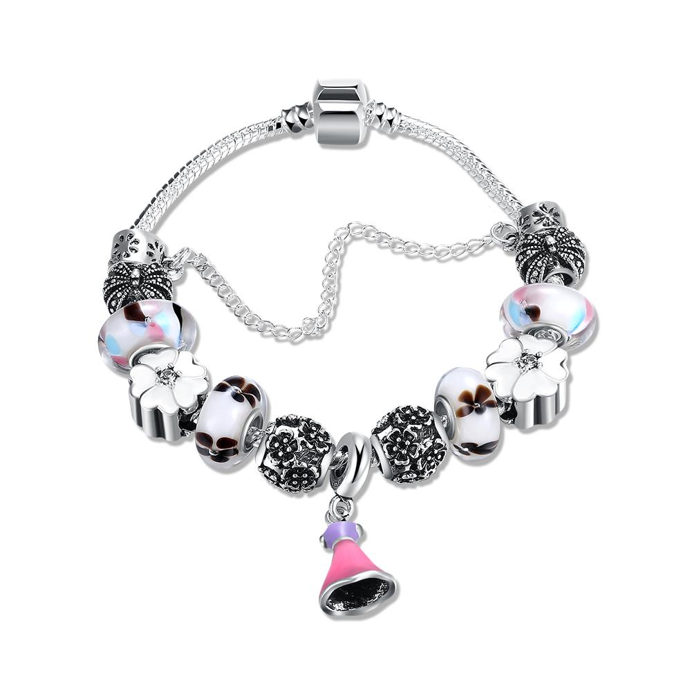 Pink Dangling Jingle Bells Pandora Inspired Bracelet