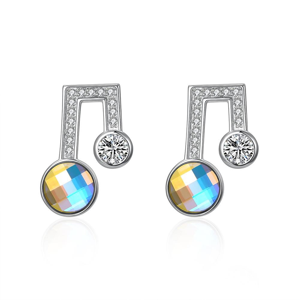 Sterling Silver Musical Noted Swarovski Studs- Silver