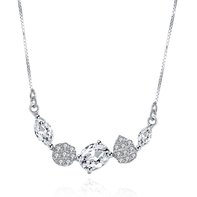 Swarovski Elements Clustered Pav'e Dangling Sterling Silver Necklace