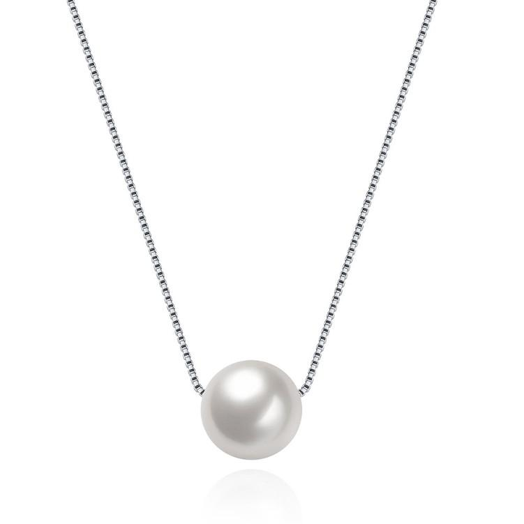 Single Pearl Sterling Silver Necklace
