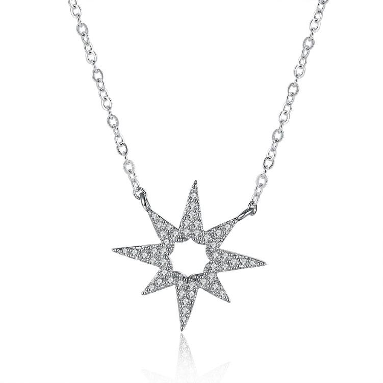 Swarovski Elements Pav'e Star Shaped Sterling Silver Necklace