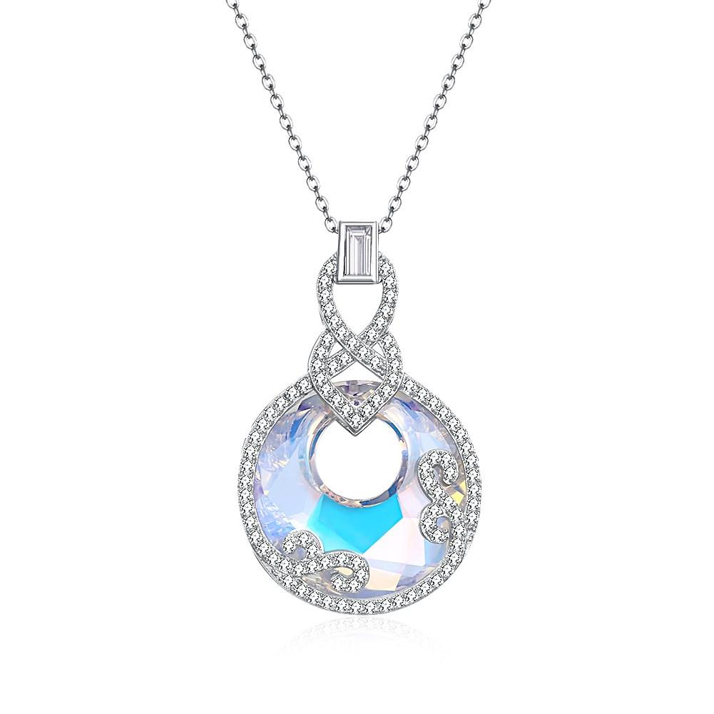 5.00 CT Aurora Borealis Stone Sterling Silver Swarovski Crystal Inception Necklace