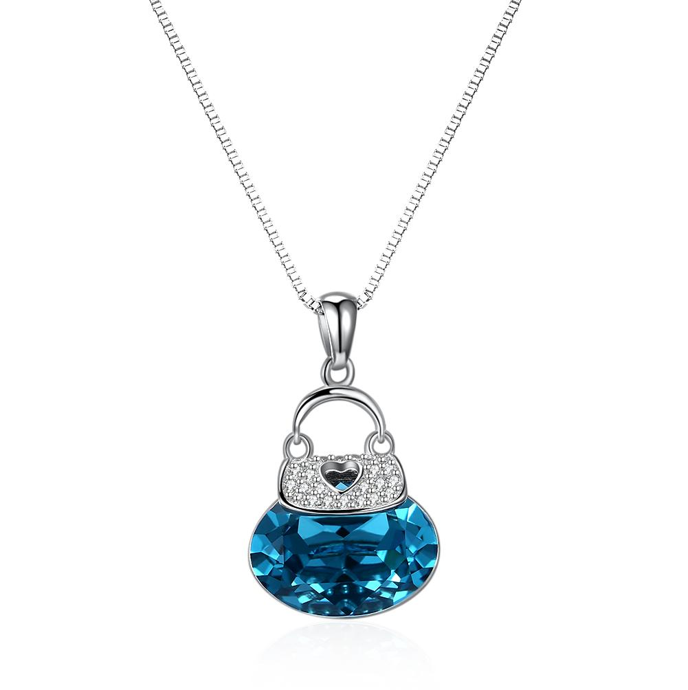 Blue Drop Necklace in Sterling Silver with Swarovski Crystals