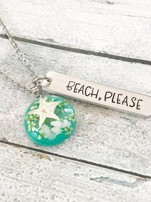 Beach please - Hand Stamped Necklace