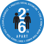 Social Distancing Blue 2-6 apart Decal