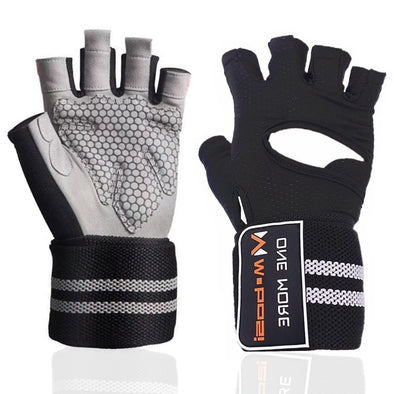 Unisex Anti-Slip Silicone Grip Padded Weight Lifting Gloves with Wrist Wrap
