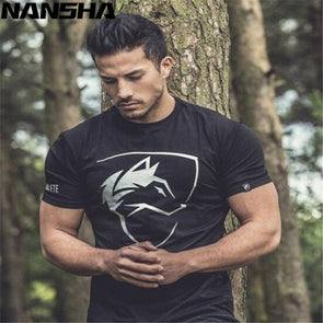 New ALPHALETE Men's T-Shirts Crossfit Fashion Short Sleeved Fitness Bodybuilding Shirt For Men Workout Slim Fit Cotton tee tops