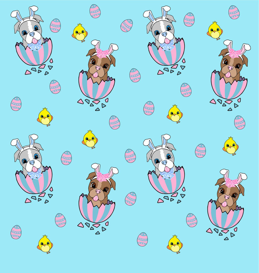 Easter Puppy Love Blue - PAWJama with Gray Trim/Sleeves