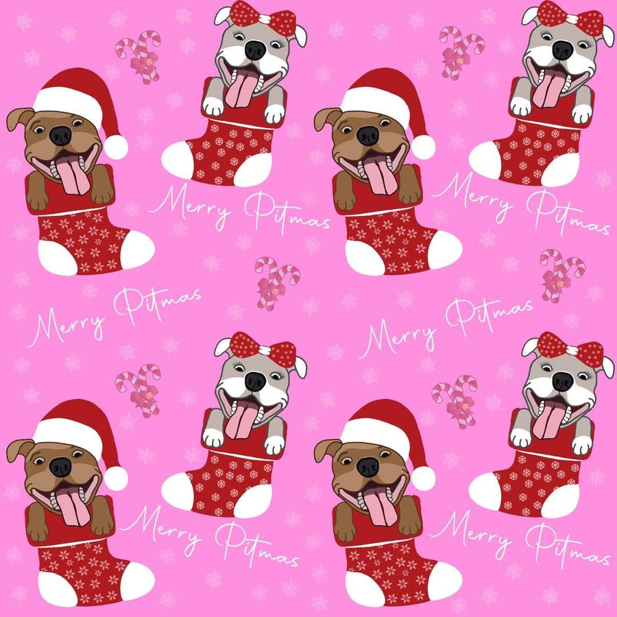 Merry Pitmas - Pink PAWJama with Red Trim/Sleeves