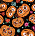 Pumpkin Catrina with Black Trim & Sleeves