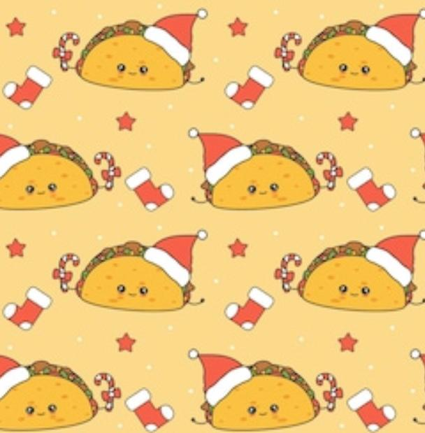 Lets Taco About A Merry Christmas - PAWJama with Red Trim/Sleeves