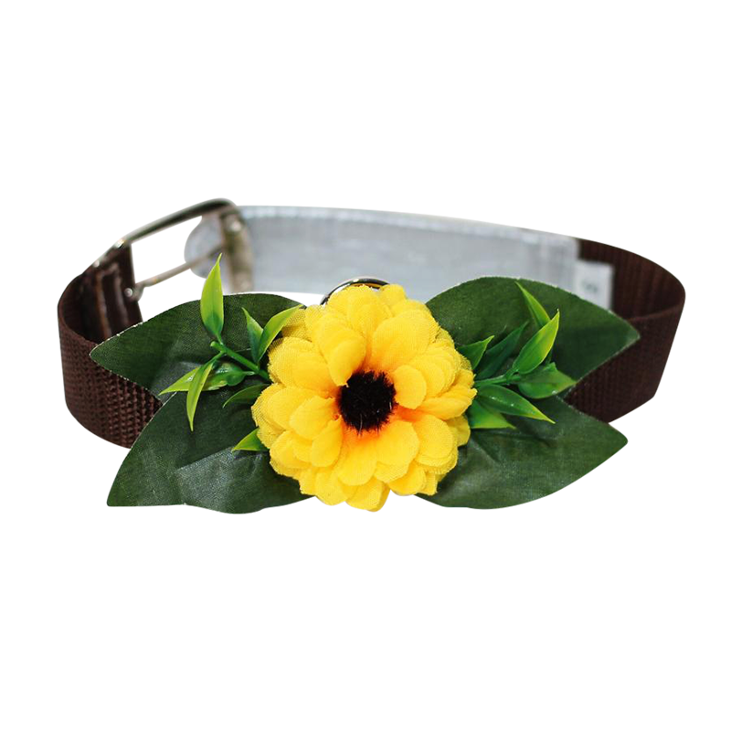 Single Flower Collar - Yellow flower w/brown collar and pink ends