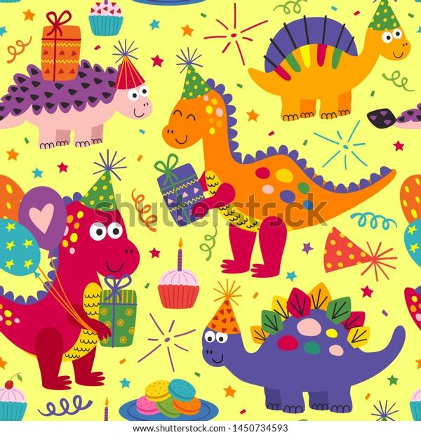 Dino Birthday Party - PAWJama with Purple Trim/Sleeves
