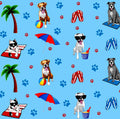 PAWjama - Beach Pawty Blue - Summer Paw-Shirt (Red Hoodie/V-Neck)