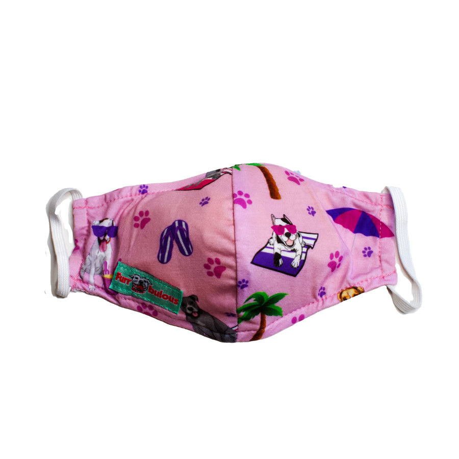 Face Mask - Pitties & boxers Beach Pawty Pink