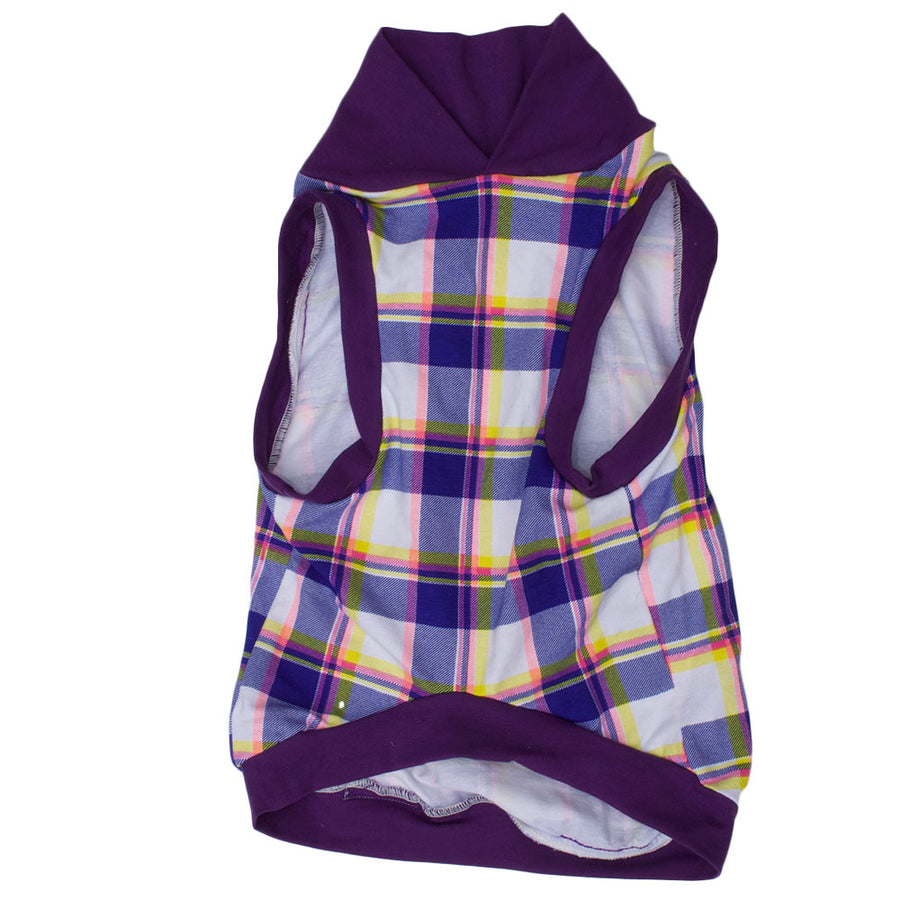 PAWjama - Purple Plaid - Purple Neck/Hoodie and Trim