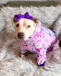 Pitties Free Kisses Booth-  Pink PAWJama with Purple Trim/Sleeves