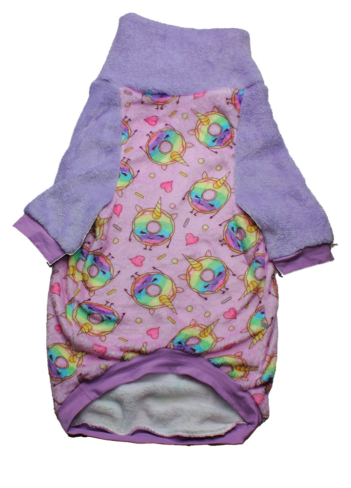 Donuts & Unicorns-  PAWJama with Light Purple Trim/Sleeves