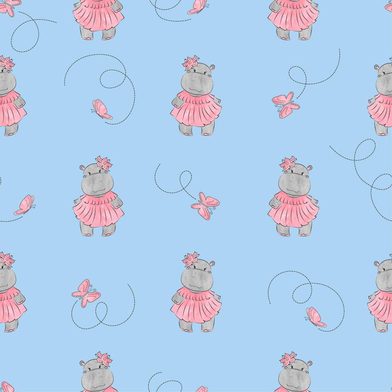 Pretty Hippo in Pink & butterflies - Grey Neck/Hoodie and Trim