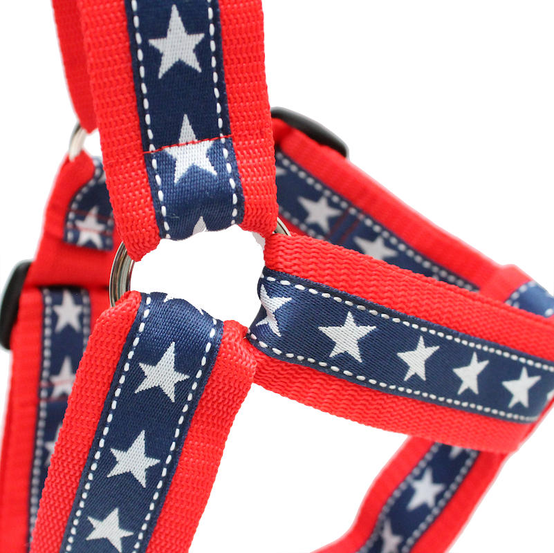 Patriotic Stars Red, White & Blue No-pull Harness - 1.5""