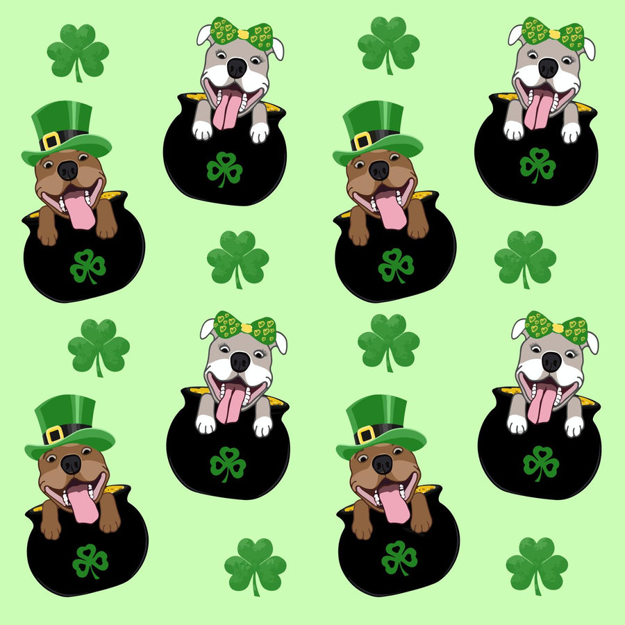 Pitties in Pot of Gold-  Green PAWJama with  Black Trim/Sleeves