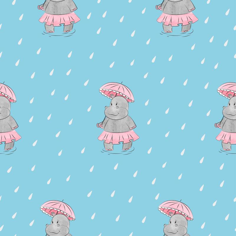 Hippo in the Rain - Gray Neck/Hoodie and Trim