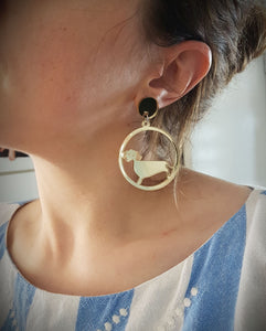 Sausage dog hoops (Dachshund dangles)