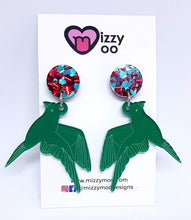 Load image into Gallery viewer, Green Parakeet drop earrings