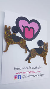 German shepherd earrings and brooches