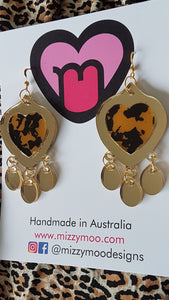 Golden leopard shiny dangles