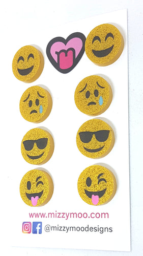 Cool Happy Silly Sad emoji studs