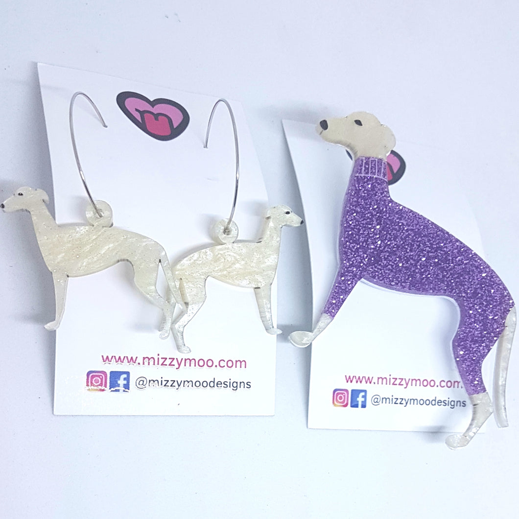 Greyhound earring and brooch pack