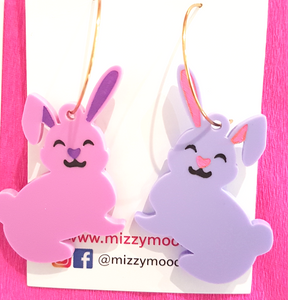 Bunny Earrings (gold hoops)