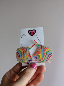 Rainbow unicorn head hoops